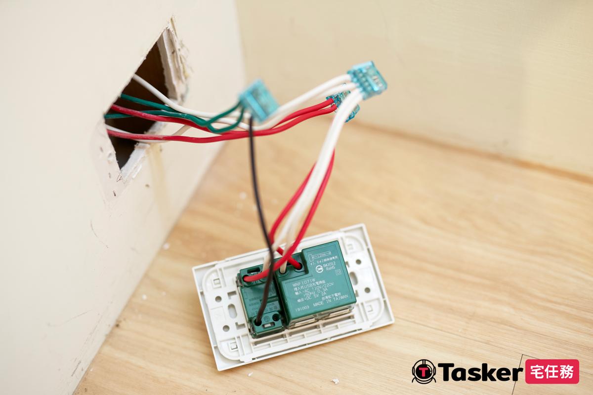 USB插座接線完成